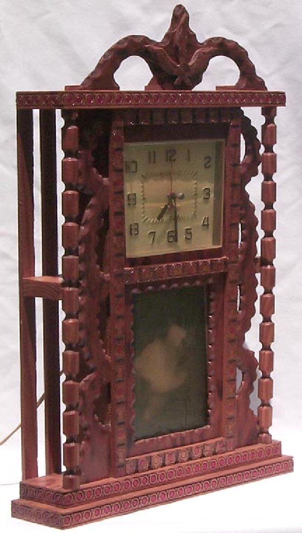 Outsider Art Howard Finster Folk Art Clock Case - 6