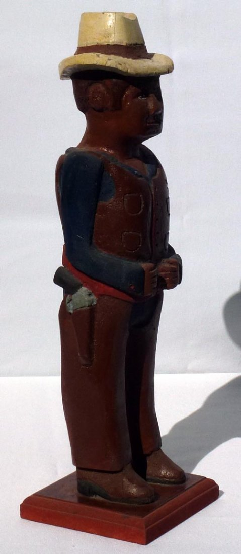 185 A painted wood carving of a western Sheriff. - 2