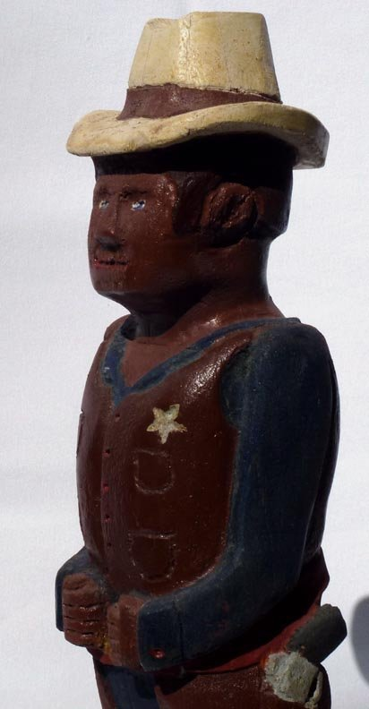 185 A painted wood carving of a western Sheriff. - 6
