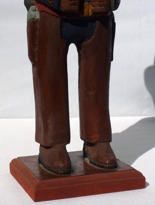 185 A painted wood carving of a western Sheriff. - 7