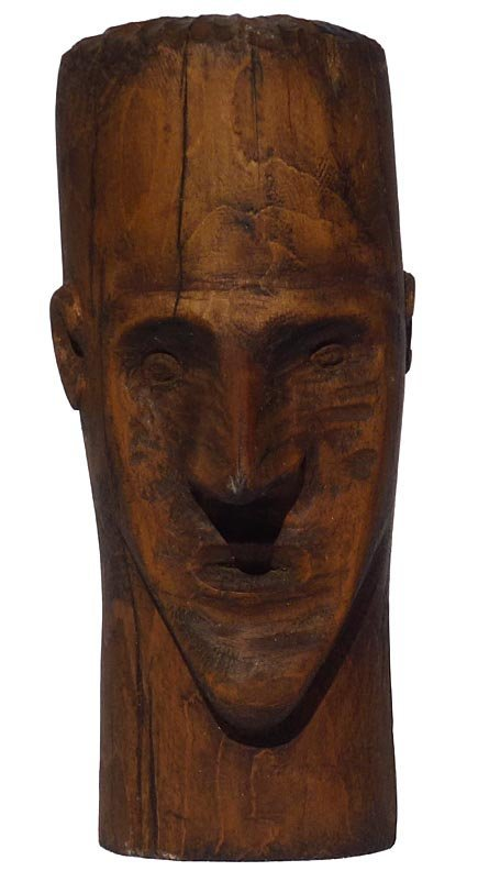 187 Folk Art wood carving of the head of a man