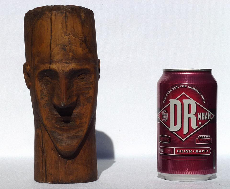 187 Folk Art wood carving of the head of a man - 2