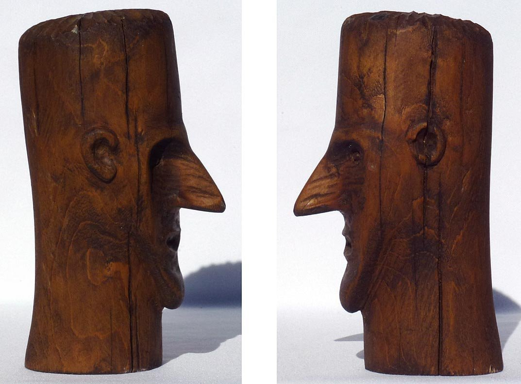 187 Folk Art wood carving of the head of a man - 3