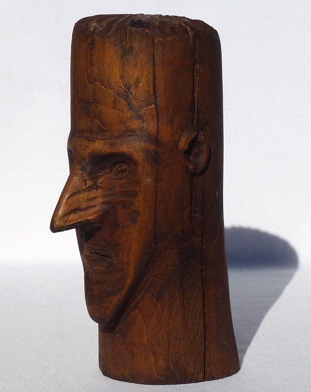 187 Folk Art wood carving of the head of a man - 4