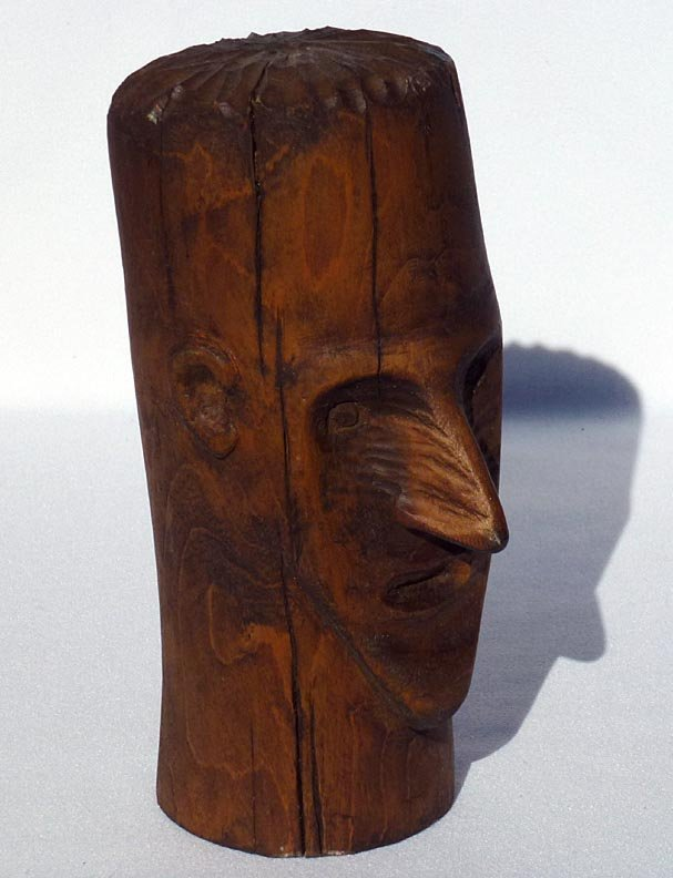 187 Folk Art wood carving of the head of a man - 5