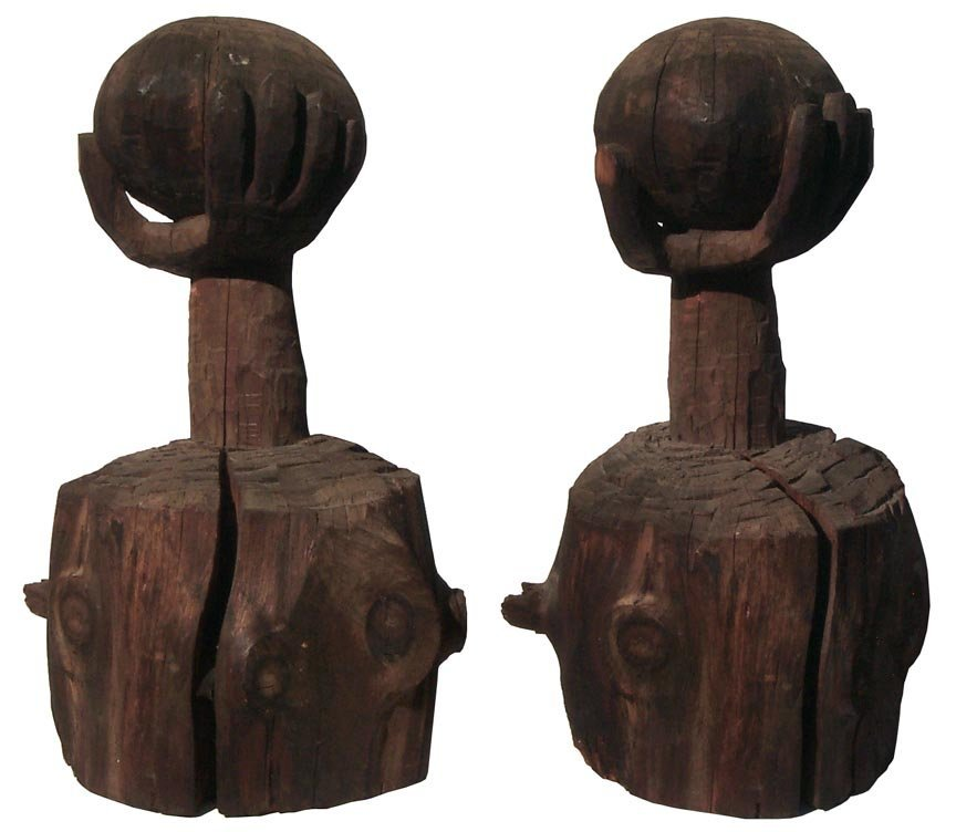 202 One Large African-American carving of egg in hand