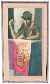 203 The Barker oil on artists board Martin Zipin