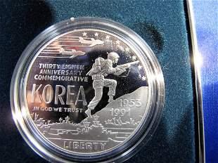 1991p Korean War Silver Dollar