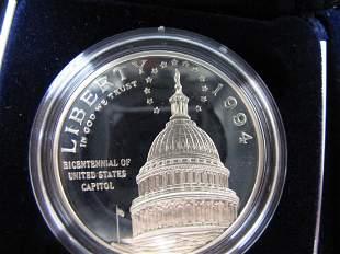 "1994s Capital Silver Dollar ""Proof"""