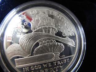 2000p Library Of Congress Proof Silver Dollar