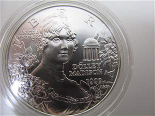 Dolly Madison Silver Dollar Uncirculated