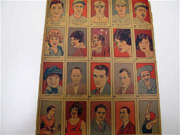 1926 Uncut Baseball Cards (5 Sheets)