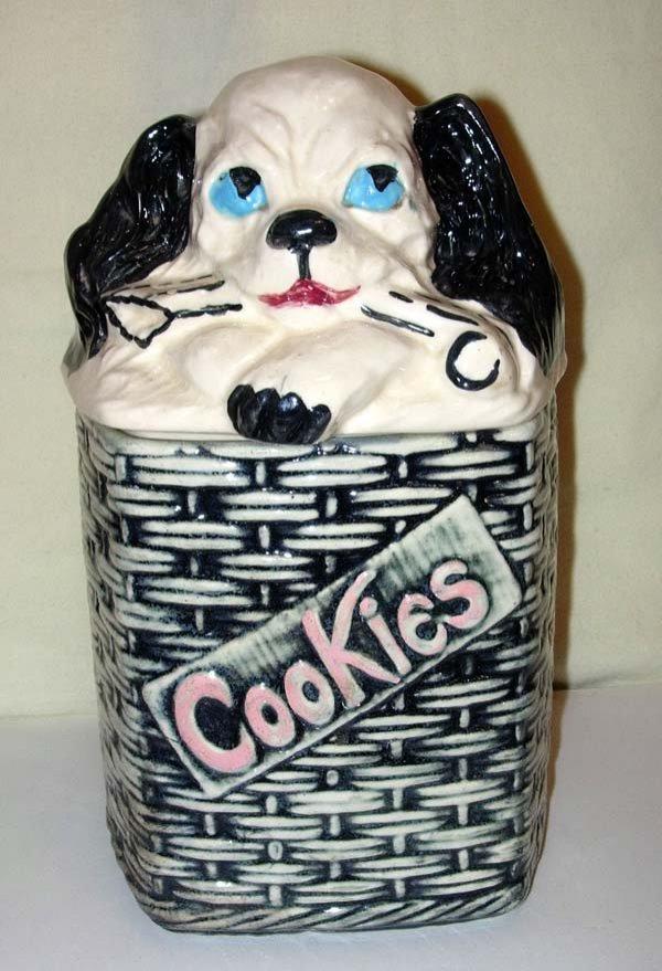 1: 1956 McCOY DOG COOKIE JAR BASKETWEAVE BOTTOM