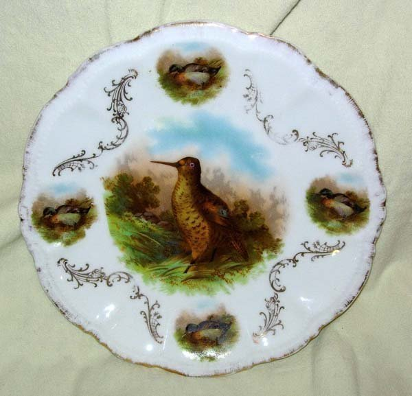 18: MARKED BAVARIA BIRD PLATE WITH 14K GOLD