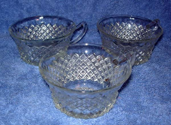 22: 3 CUPS MISS AMERICA PATTERN DEPRESSION GLASS