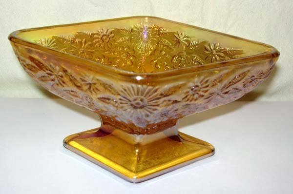24: INDIANA GLASS MARIGOLD DIAMOND CANDY DISH