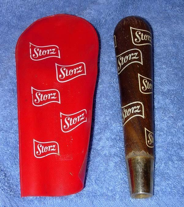 1006: 1950's STORZ BEER WOODEN TAP HANDLE W/CASE