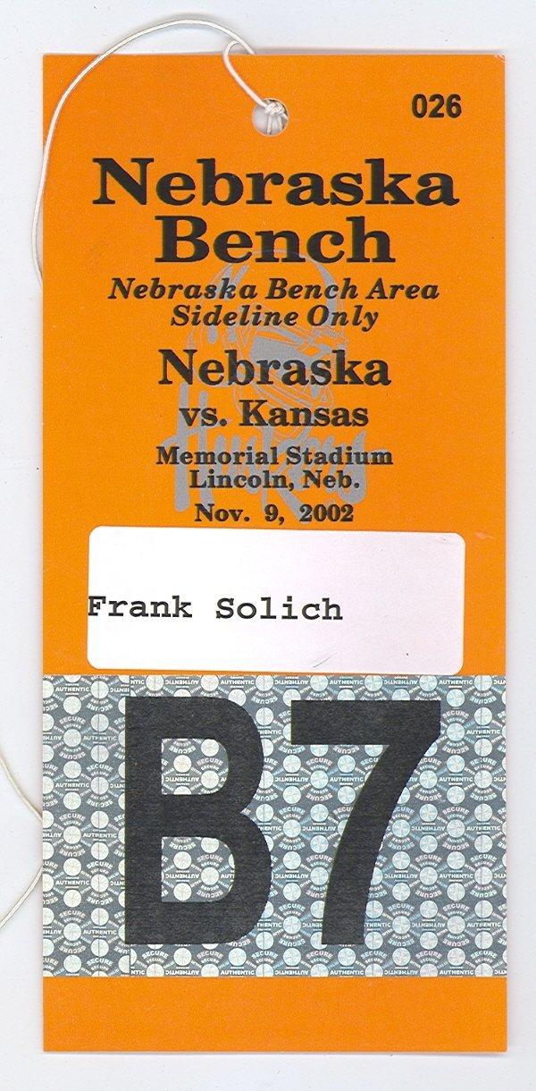 1007: 2002 SIDELINE PASS FRANK SOLICH NEBRASKA HUSKERS