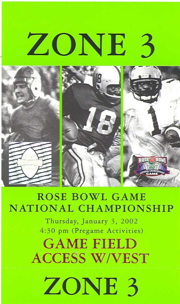 1008: 2002 ROSE BOWL SIDELINE PASS - NEBRASKA MIAMI