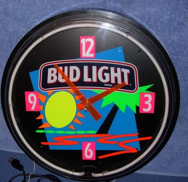 1009: 1994 BUD LIGHT NEON CLOCK W/ BRIGHT NEON COLORS