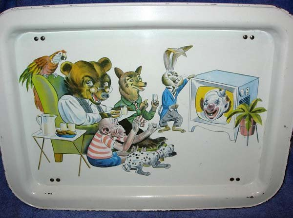 1092: 1950's BOZO THE CLOWN T.V. TRAY WITH CHARACTERS