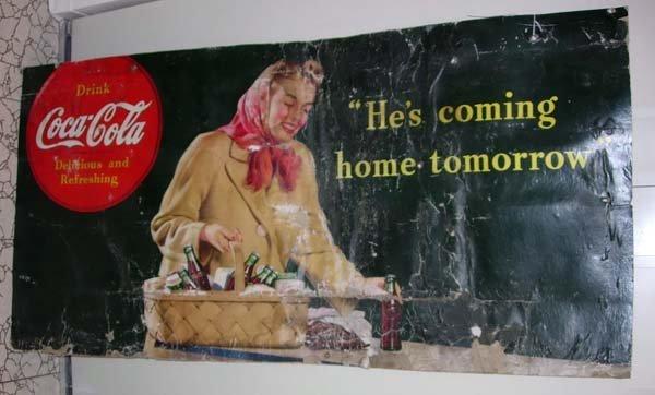 1124: 1946 WORLD WAR II COCA-COLA SIGN - COMING HOME
