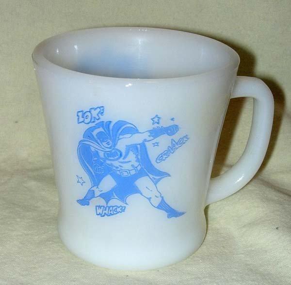 1209: 1960's FIRE KING BLUE BATMAN & ROBIN MUG