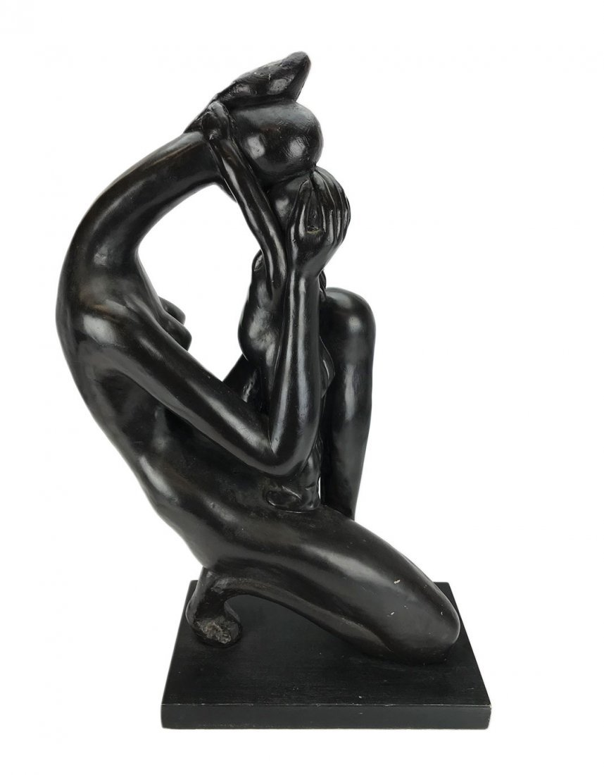 Modern Metal Sculpture of a Mother and Child