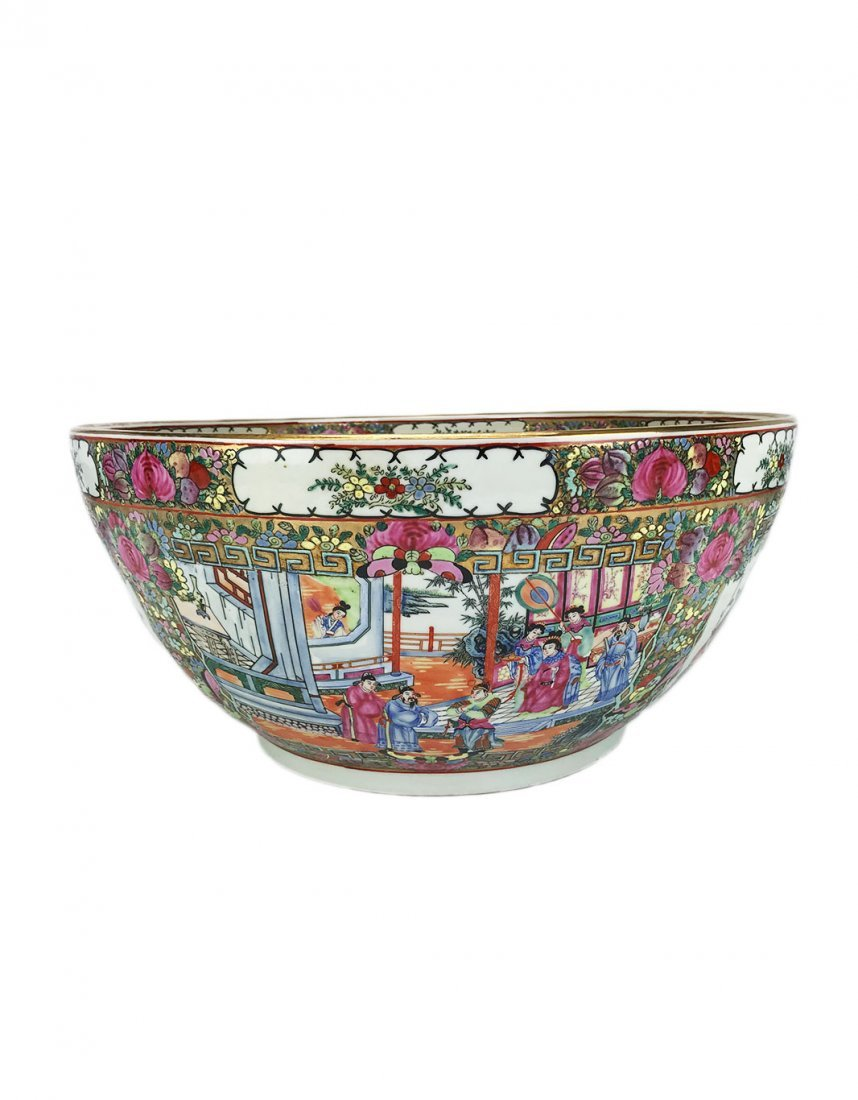 A Large Cantonese Famille Rose Bowl with Qianlong Mark