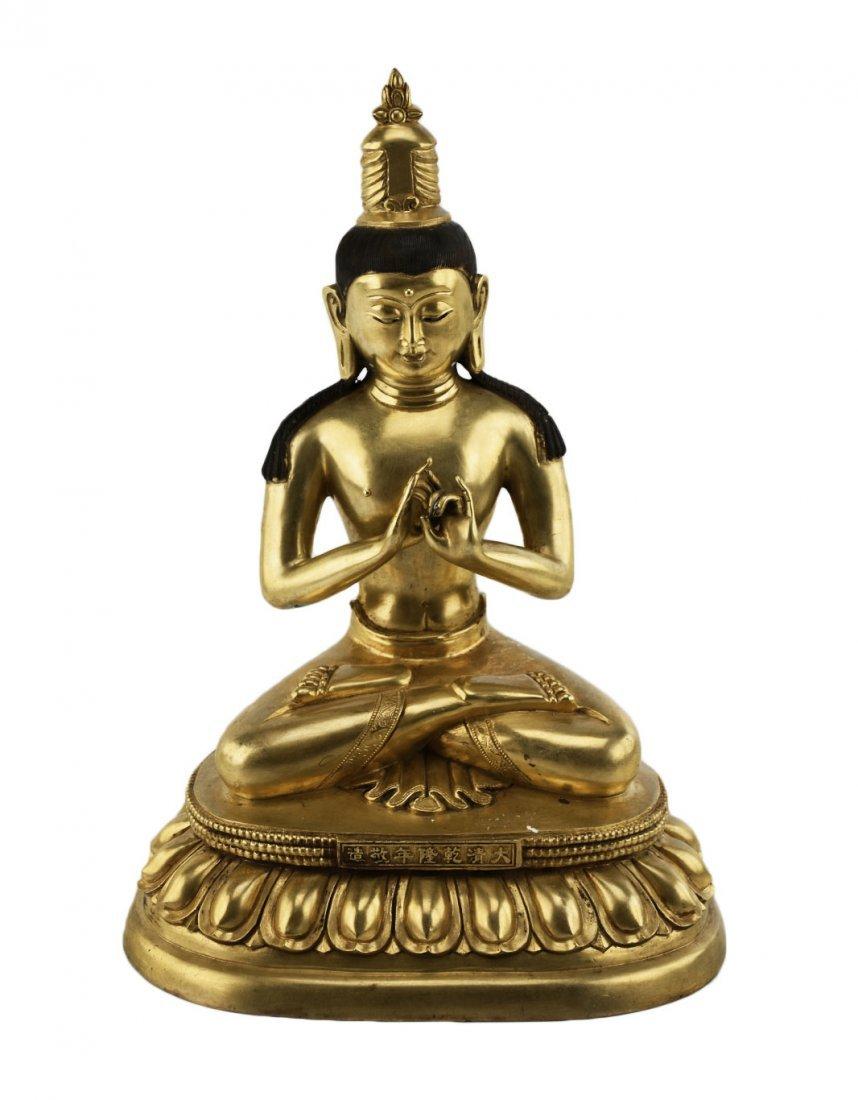 Gilt Bronze Buddha Statute with Qianlong Mark