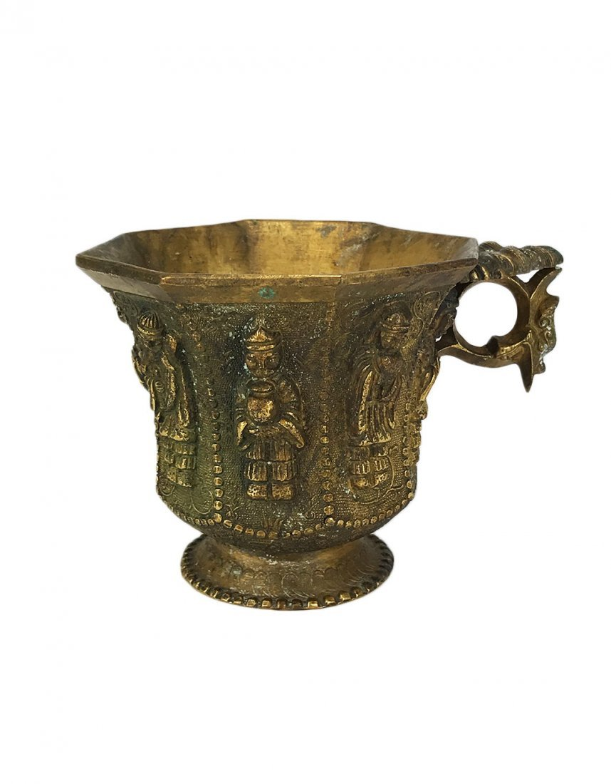 Tang Style Gilt Bronze Cup