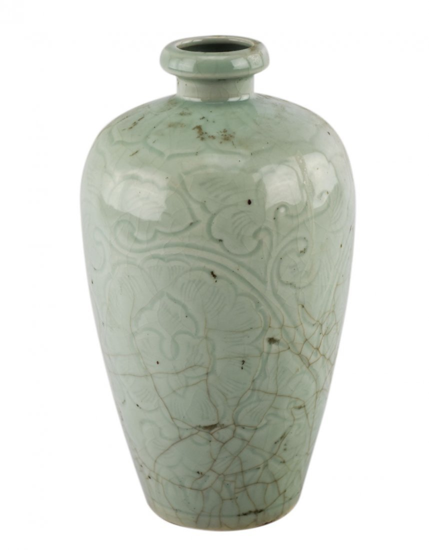 A Korean Celadon Glazed Floral Vase
