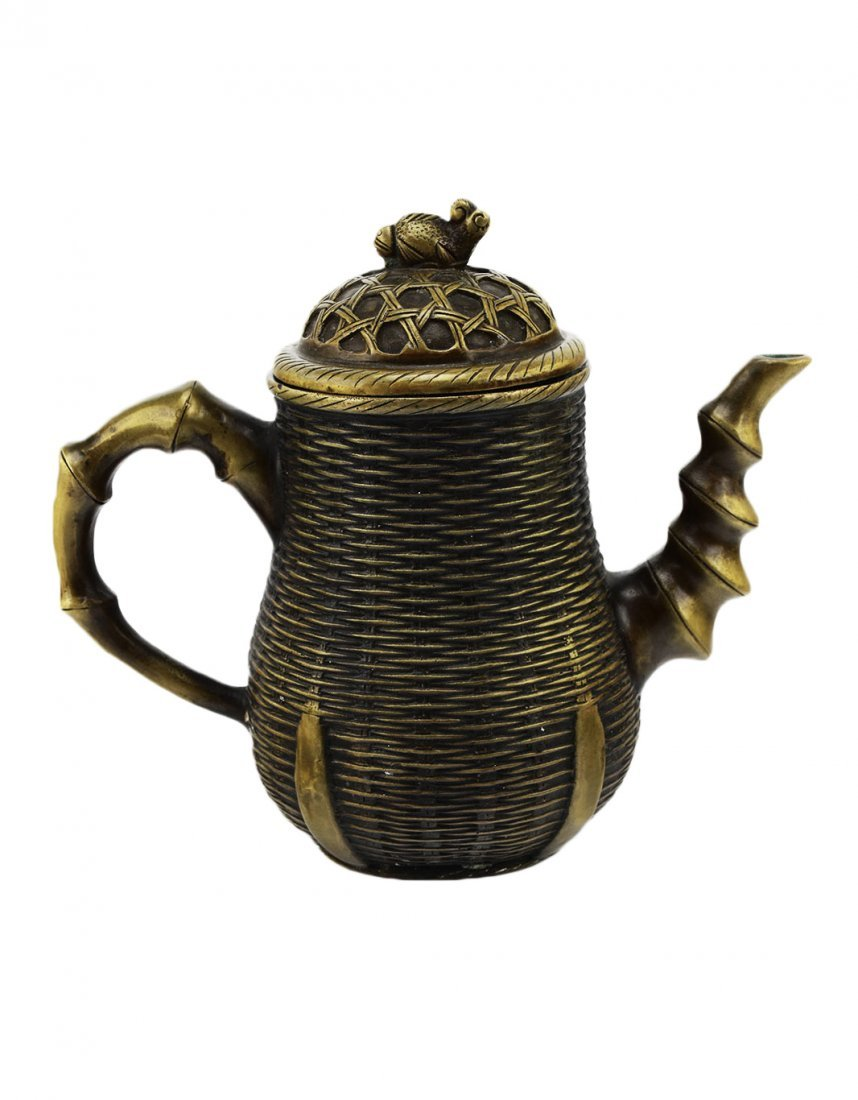 A Bronze Bamboo Woven Teapot with a Qing Dynasty Mark