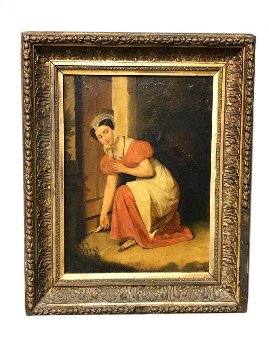 An Oil Painting of a Lady Sliding A Note Under a Door