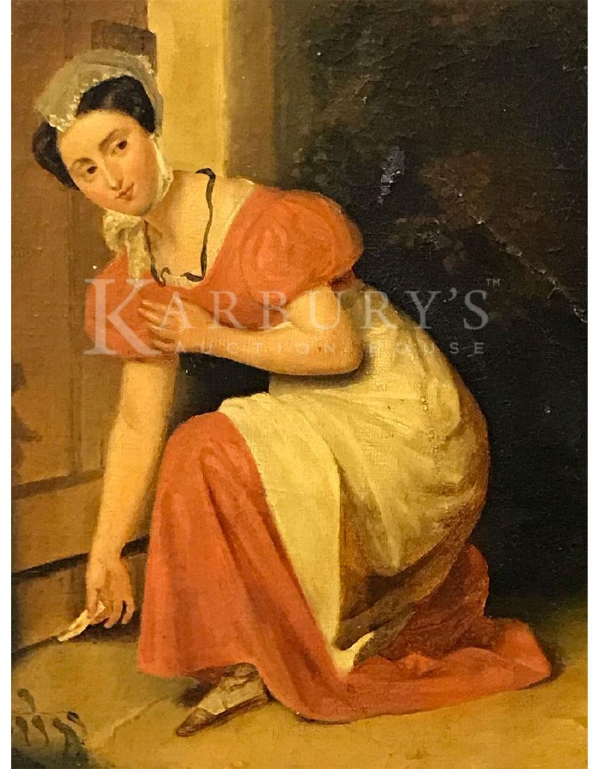 An Oil Painting of a Lady Sliding A Note Under a Door - 2