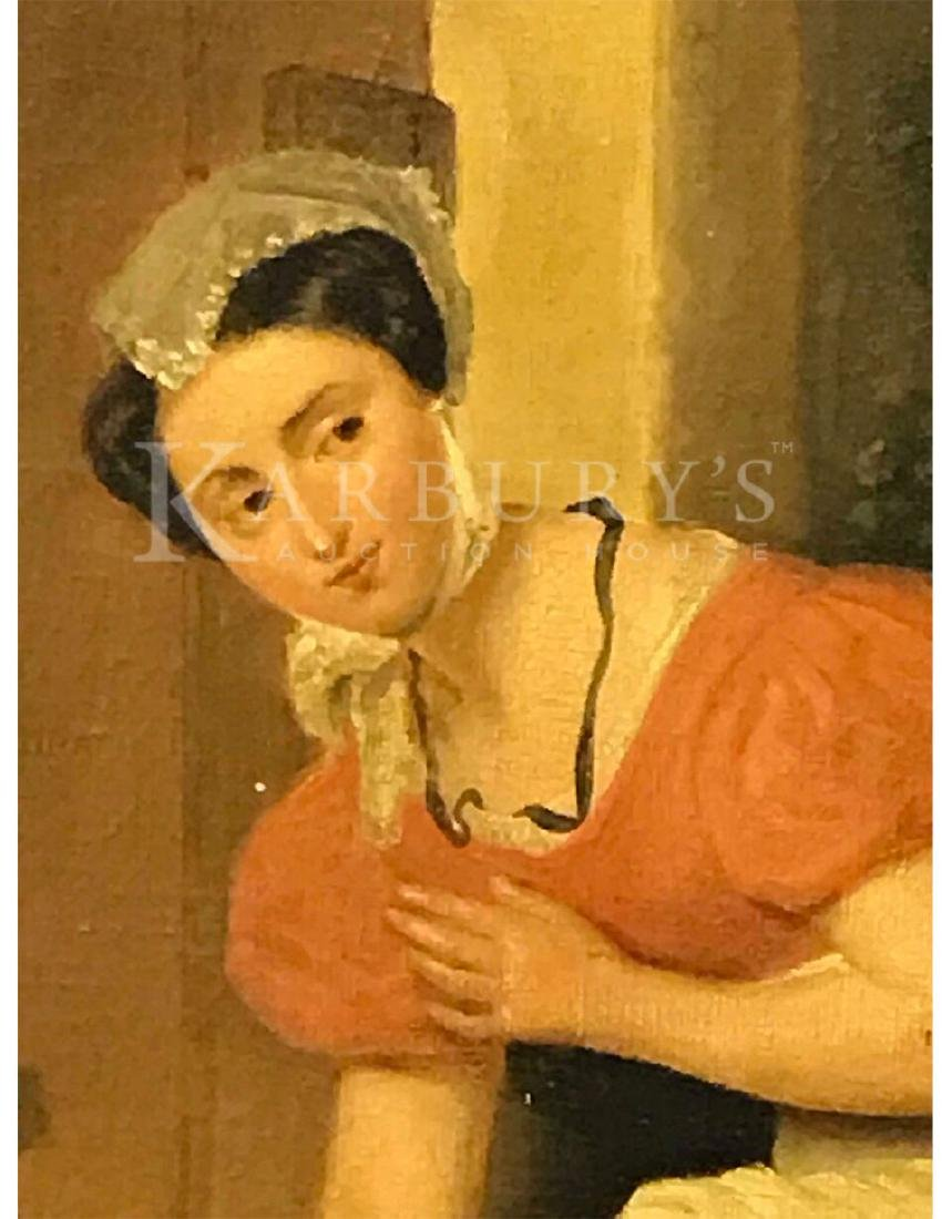 An Oil Painting of a Lady Sliding A Note Under a Door - 3