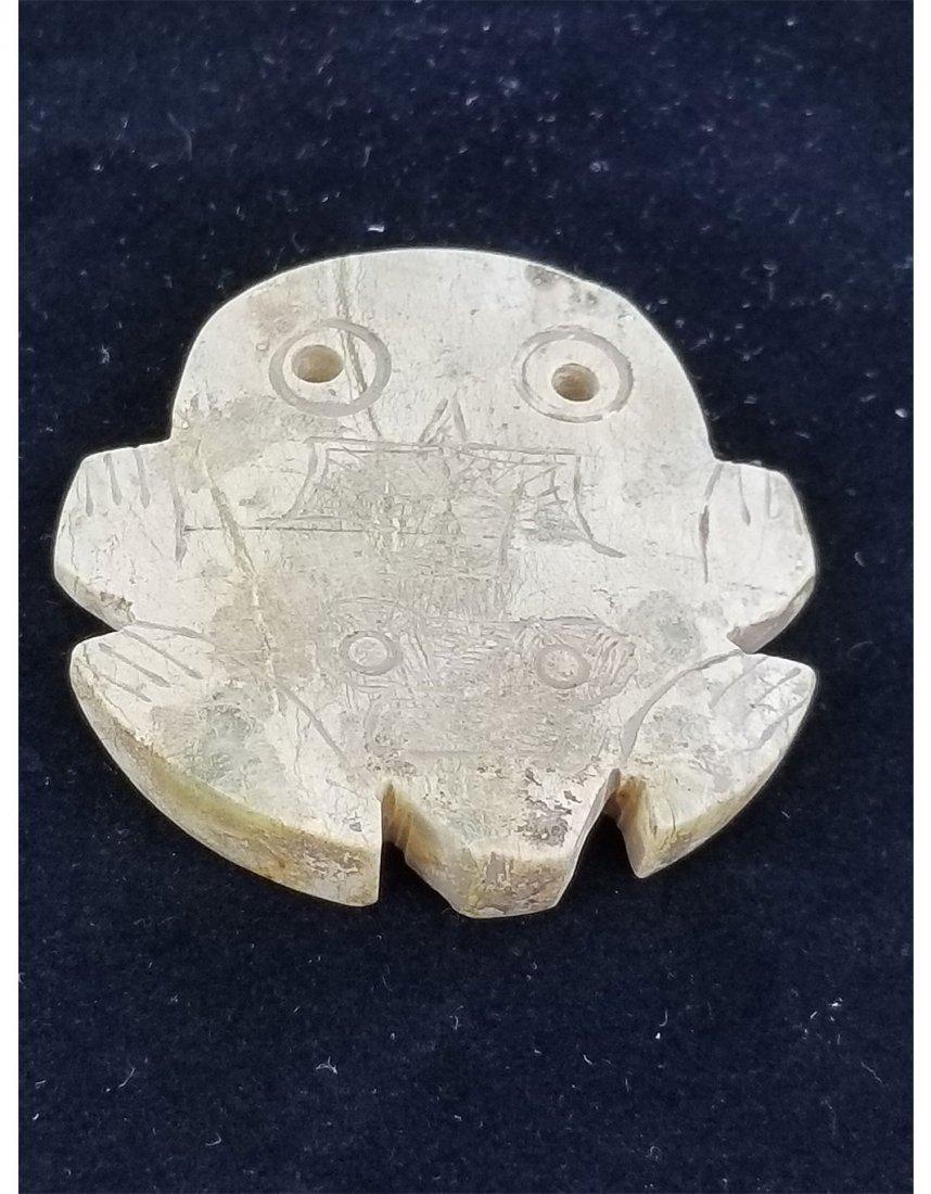 Antique Jade Etched Frog Pendant