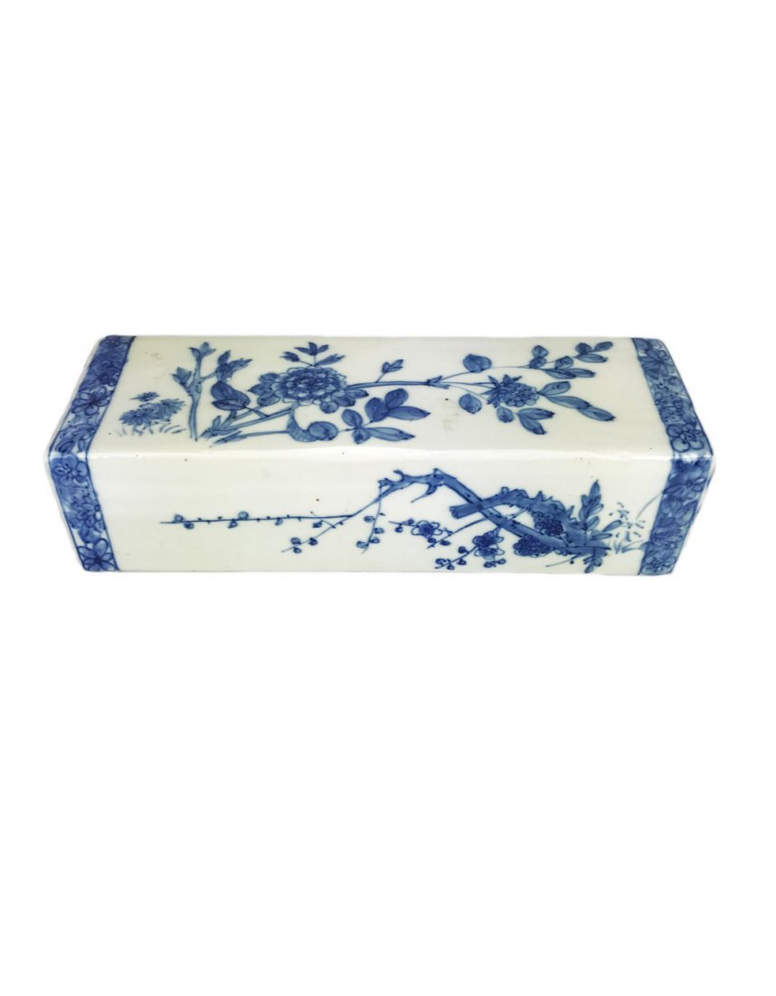 A Blue and White Floral Porcelain Pillow