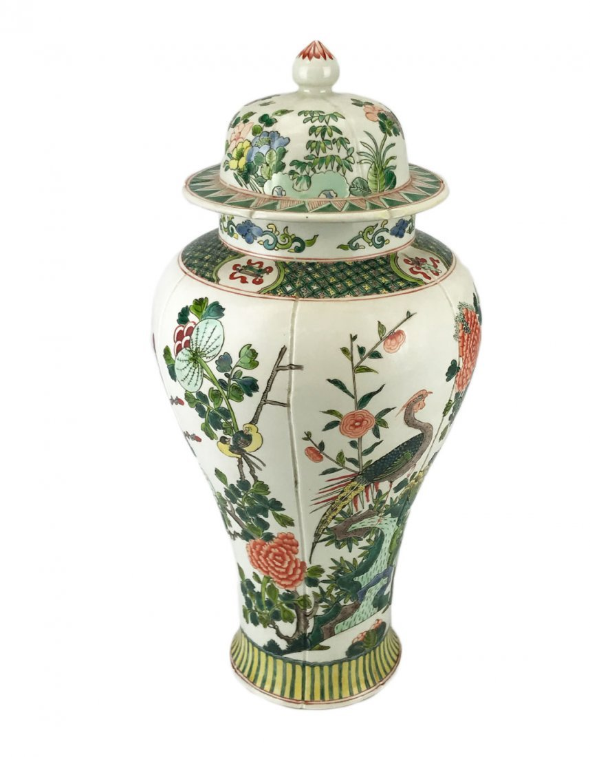 A Famille Verte Floral Meiping Jar with a Yongzheng