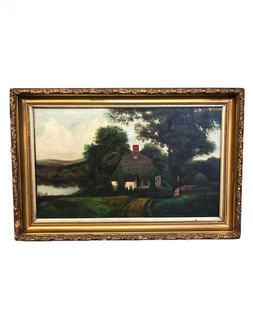 Antique Picturesque Landscape, Oil on Canvas