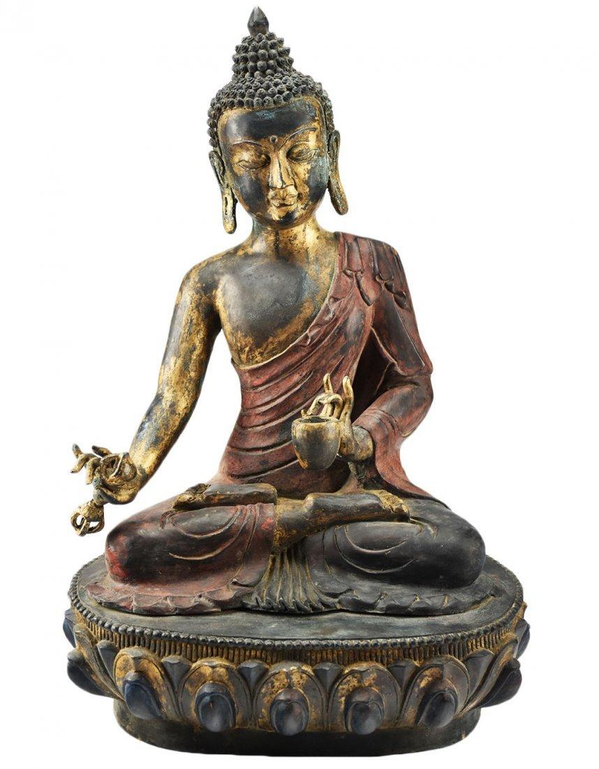 Gilt Gold Bronze Seated Buddha Statue