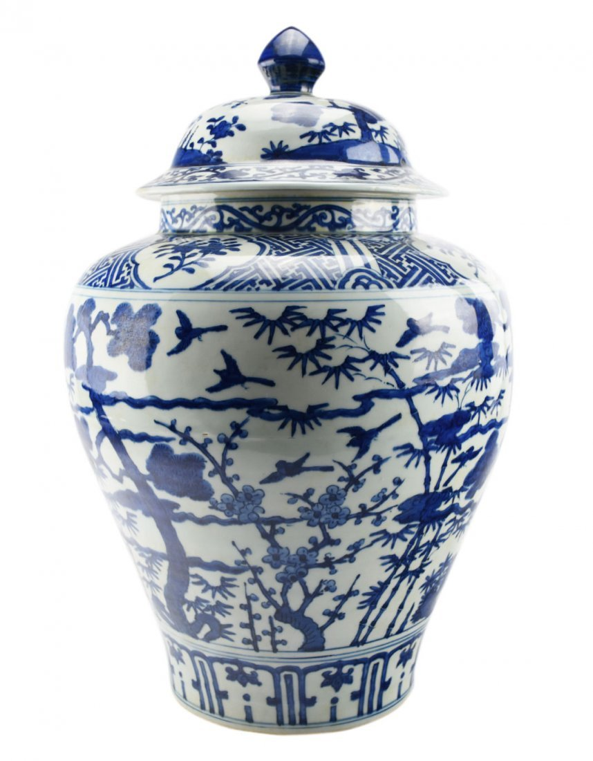 A Large Blue and White Tree and Bird Jar with a Wanli