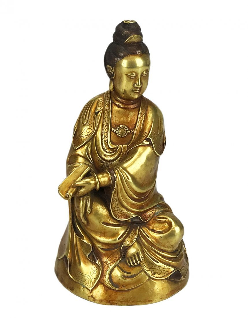 A Bronze Seated Guan Yin with a Yongle Mark