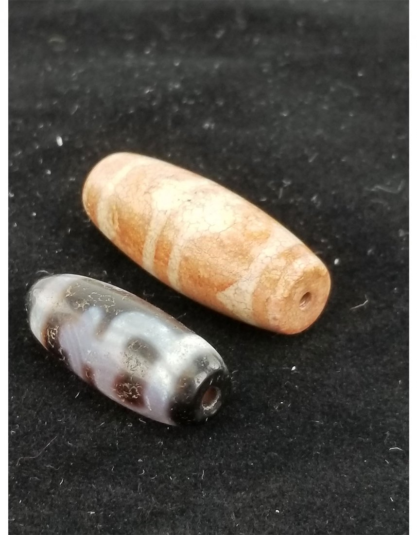 Two Beads (Ming Dynasty Agate and Tibet Dzi)