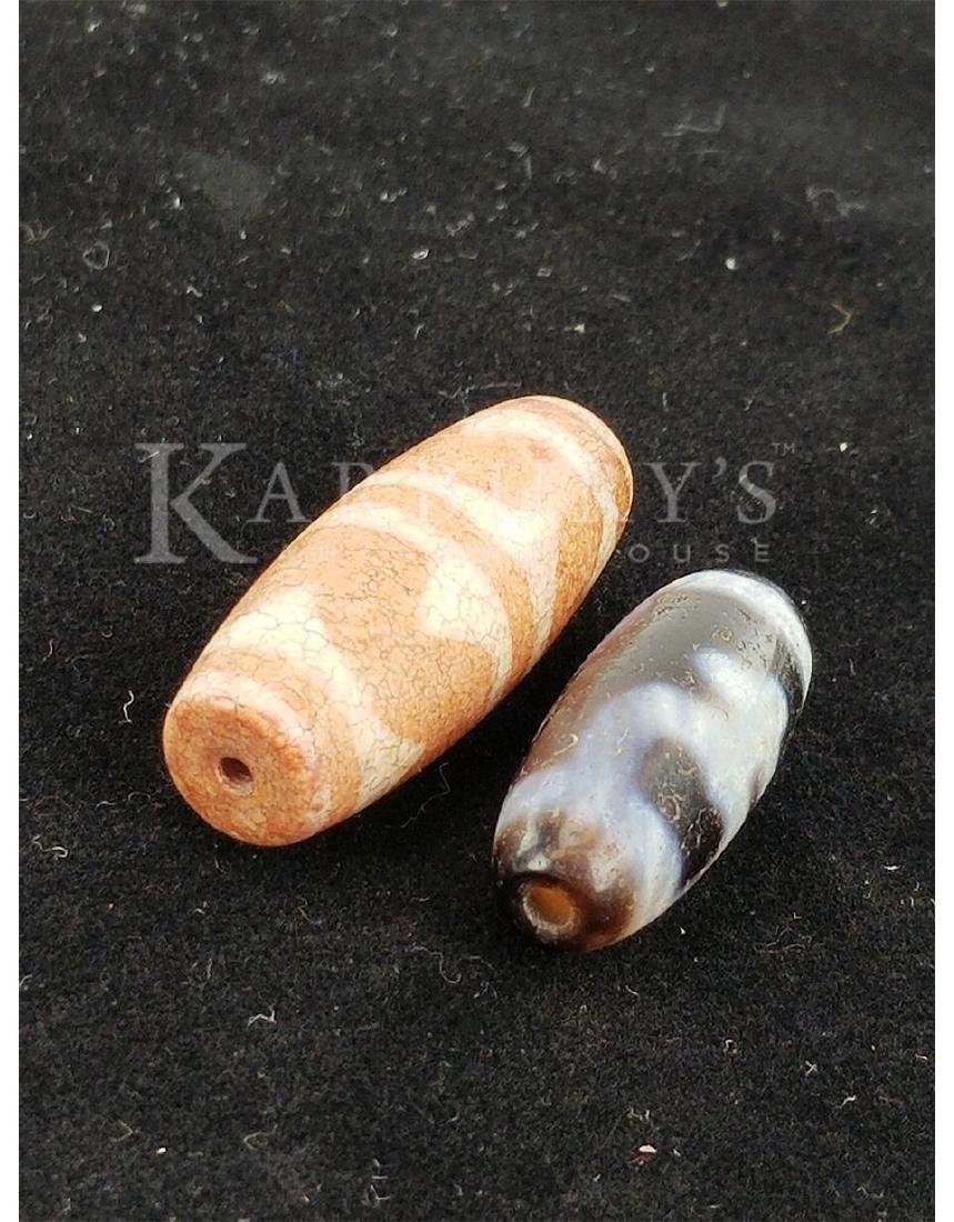 Two Beads (Ming Dynasty Agate and Tibet Dzi) - 4