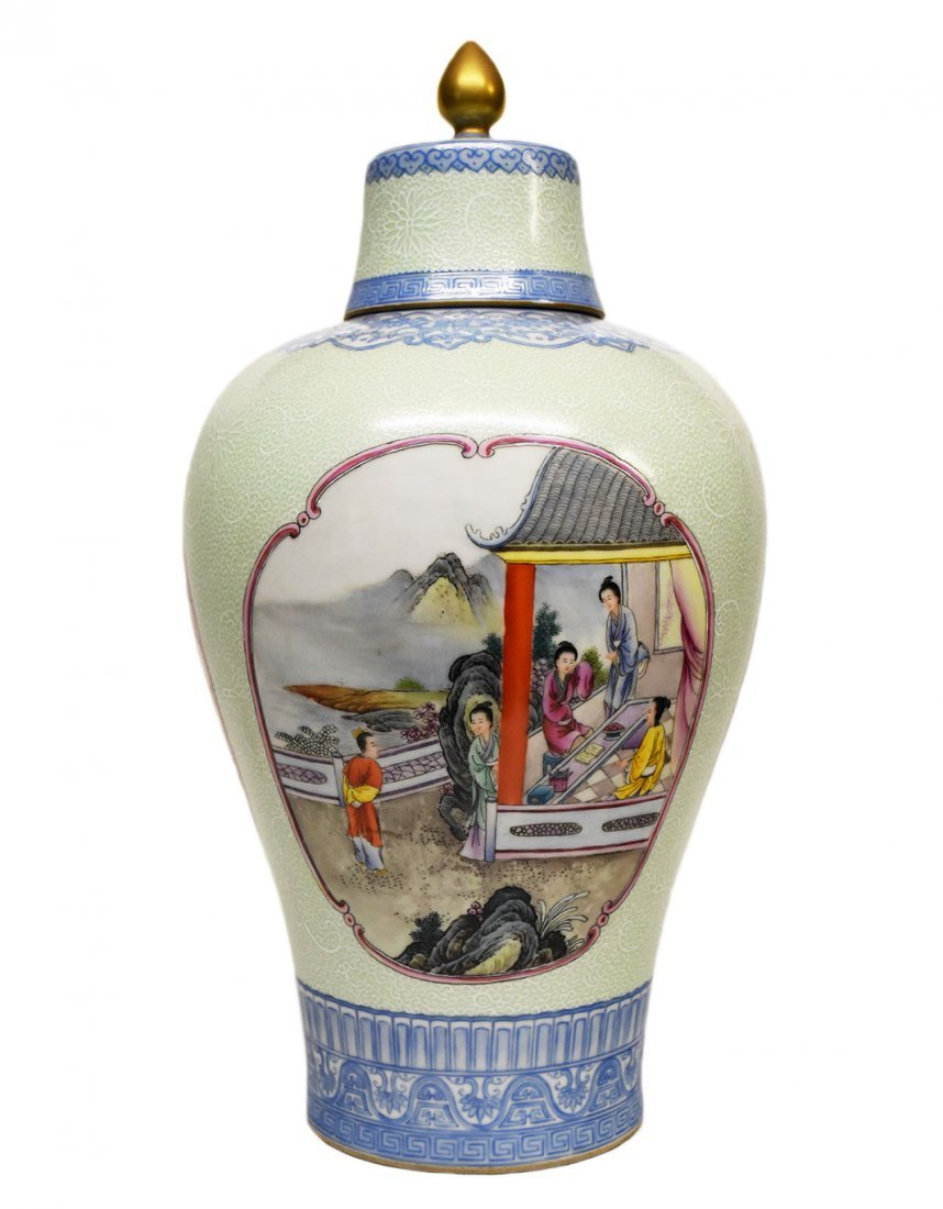 Famille Rose Celadon Meiping Vase with Qianlong Mark