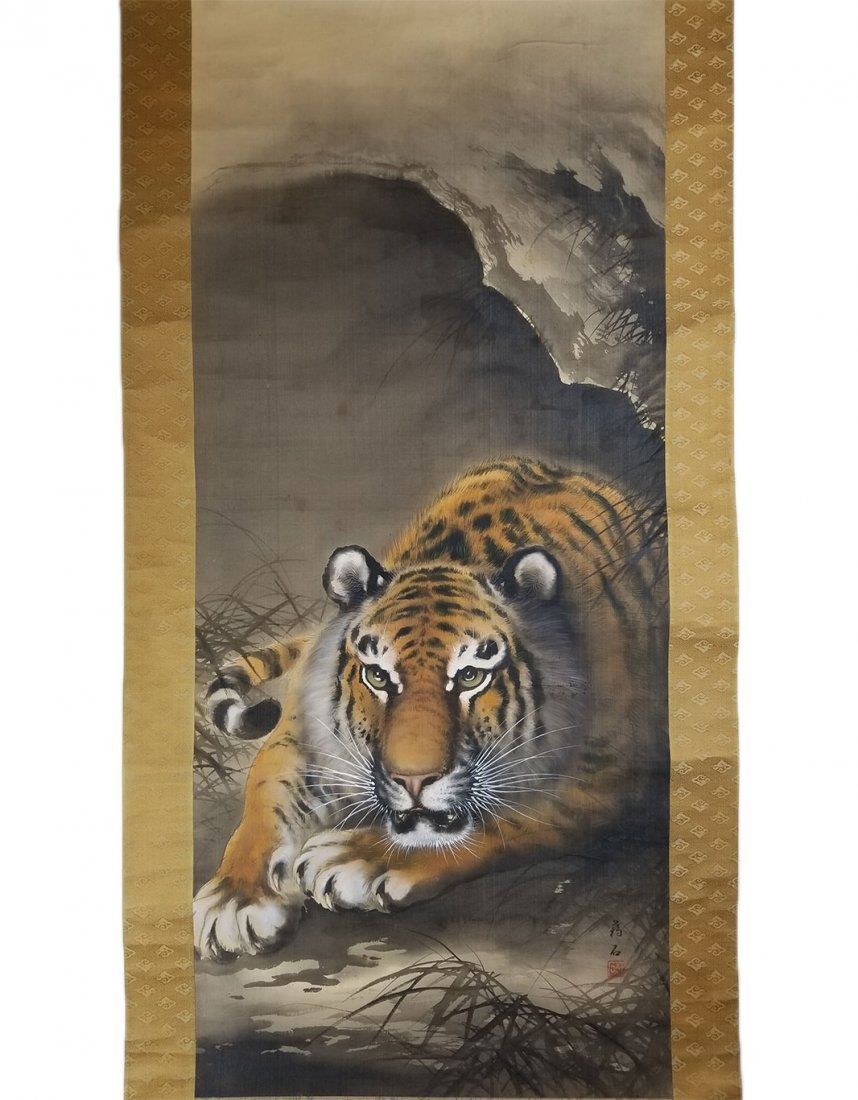 A Scroll Painting of a Tiger in a Cave, Ink and Color