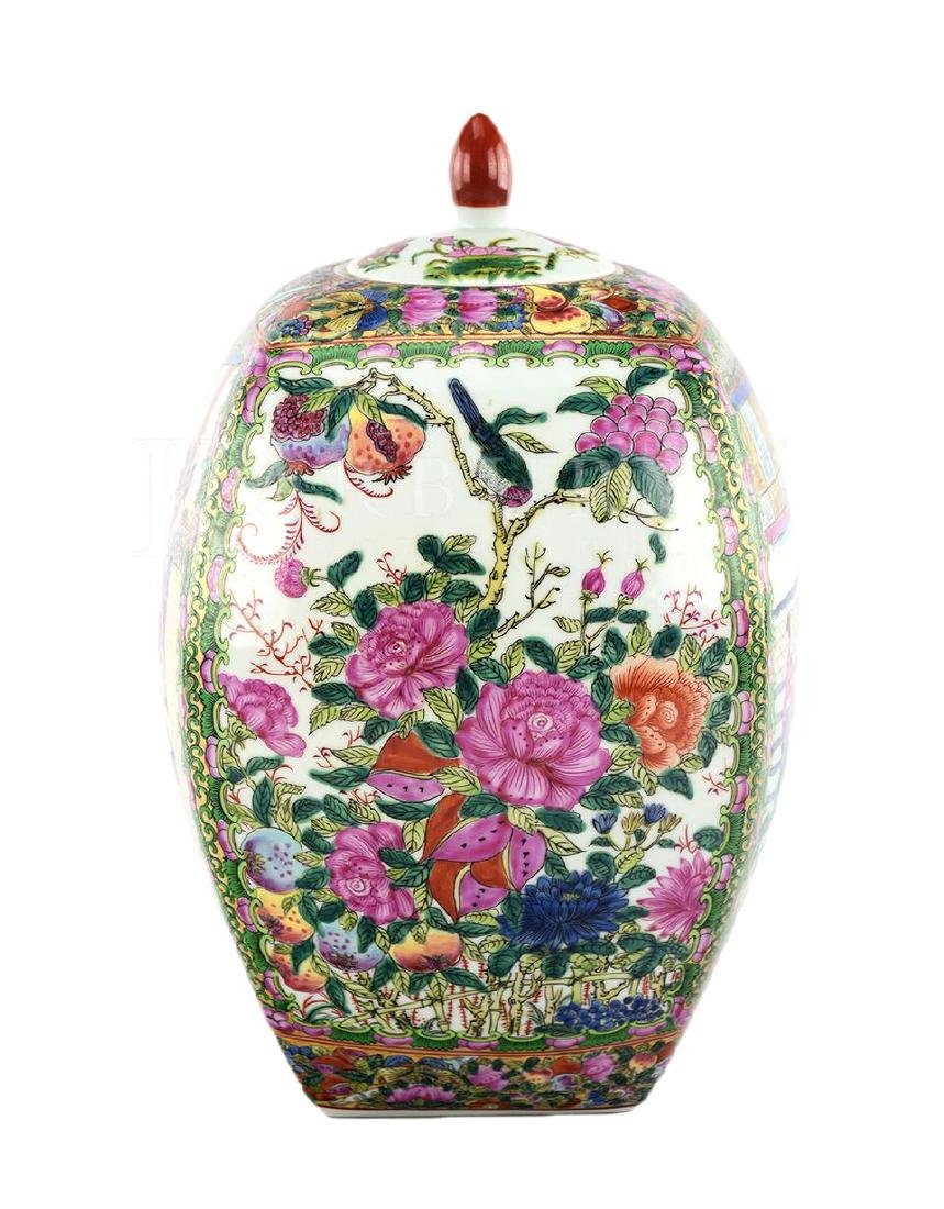 A Square Famille Rose Cantonese Covered Jar - 4
