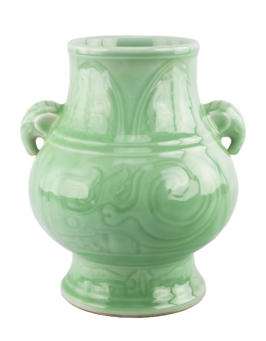 A Celadon-Glazed Pear-Shaped Archaistic Vase with a