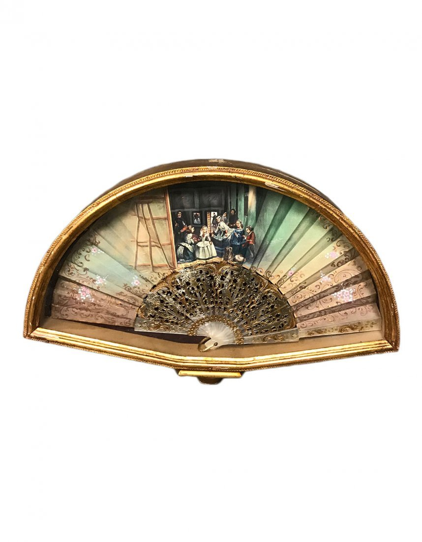 A Hand Painted Silver Gilt Hand Fan